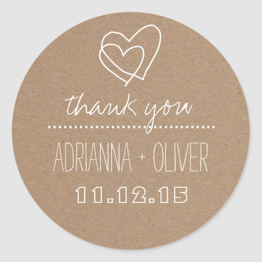 Rustic Kraft Paper| Heart Wedding Thank You Classic