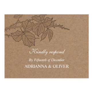 Rustic Kraft Paper Leaves Pattern Wedding RSVP Postcards
