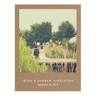 Rustic Kraft Paper Love And Thanks Script Photo Postcard