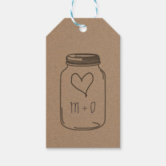 Rustic Kraft Paper Mason Jar Heart Wedding Gift Tags