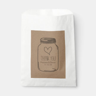 Rustic Kraft Paper Mason Jar Wedding Thank You Favour Bags