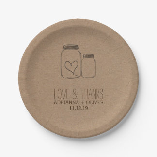 Rustic Kraft Paper Mason Jars Heart Wedding 7 Inch Paper Plate