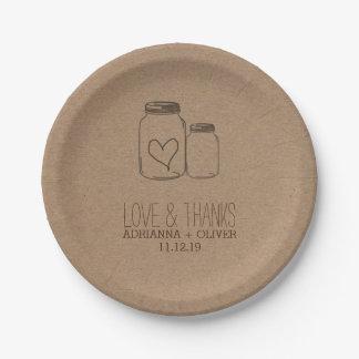 Rustic Kraft Paper Mason Jars Heart Wedding Paper Plate