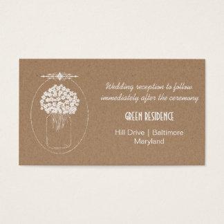 Rustic Kraft Paper MasonJar Flowers Wedding Insert