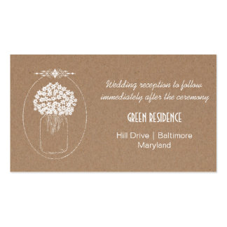 Rustic Kraft Paper MasonJar Flowers Wedding Insert Pack Of Standard Business Cards