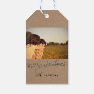 Rustic Kraft Paper Merry Christmas Script Photo Gift Tags