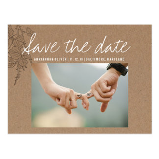 Rustic Kraft Paper Save The Date | Couple Photo Postcard