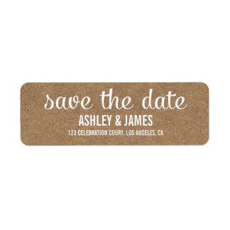 RUSTIC KRAFT PAPER SAVE THE DATE LABELS