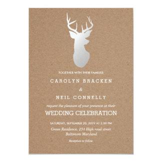 Rustic Kraft Paper Silver Antler Wedding 13 Cm X 18 Cm Invitation Card