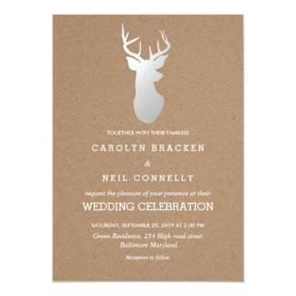 Rustic Kraft Paper Silver Antler Wedding Card