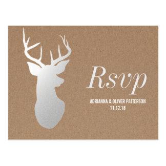 Rustic Kraft Paper Silver Antler Wedding RSVP Postcard