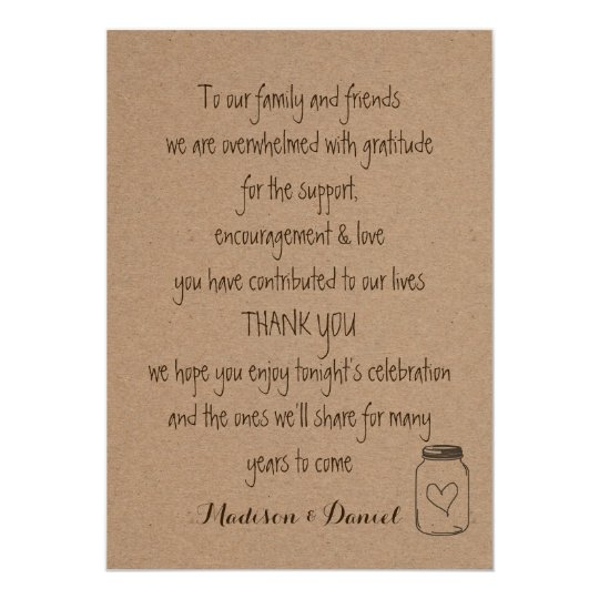 Rustic Kraft Paper Wedding Thank You Card