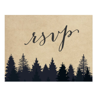 Rustic Kraft Pine Trees Forest RSVP Response Postcard