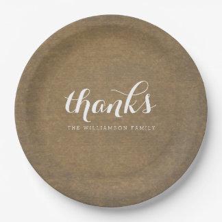 Rustic Kraft Print - Thanks Thanksgiving Family 9 Inch Paper Plate