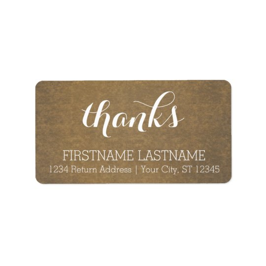 Rustic Kraft Print - Thanks Thanksgiving Family Address Label