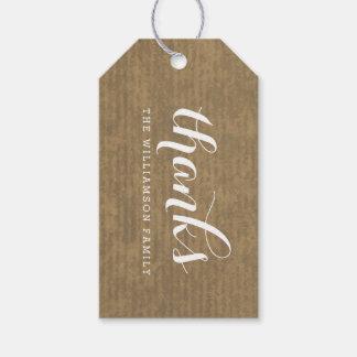 Rustic Kraft Print - Thanks Thanksgiving Family Gift Tags
