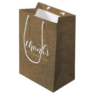 Rustic Kraft Print - Thanks Thanksgiving Family Medium Gift Bag