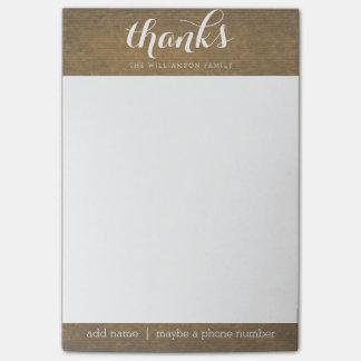 Rustic Kraft Print - Thanks Thanksgiving Family Post-it® Notes