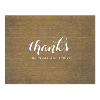 Rustic Kraft Print - Thanks Thanksgiving Family Postcard