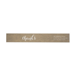 Rustic Kraft Print - Thanks Thanksgiving Family Wrap Around Label