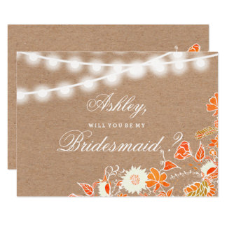 Rustic kraft string lights fall floral bridesmaid card