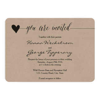 Rustic Kraft Wedding invite, heart calligraphy 13 Cm X 18 Cm Invitation Card
