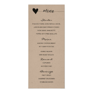 Rustic kraft Wedding Menu heart calligraphy Card