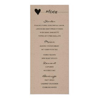 Rustic kraft Wedding Menu heart calligraphy Card