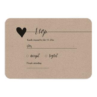 Rustic Kraft Wedding RSVP, heart calligraphy 9 Cm X 13 Cm Invitation Card