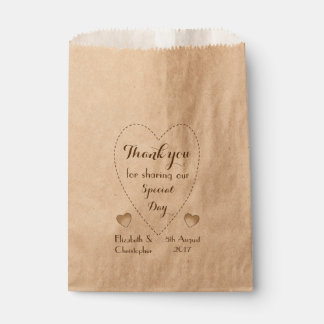 Rustic Kraft Wedding Thank you Favour Bags