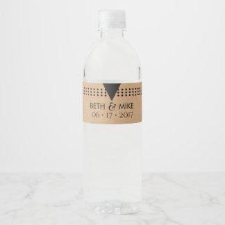 Rustic Kraft Wedding Water Bottle Label