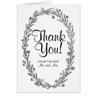 Rustic Kraft Wreath Wedding Thank You Card