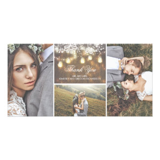 Rustic Lace and Mason Jar Lights Wedding Thank You Picture Card