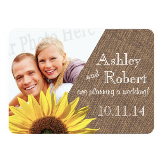 Rustic Lace and Sunflower Photo Save the Date Card