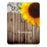 rustic lace barn wood sunflower country wedding 11 cm x 14 cm invitation card