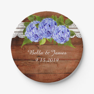 Rustic Lace Blue Hydrangea Wedding Paper Plate
