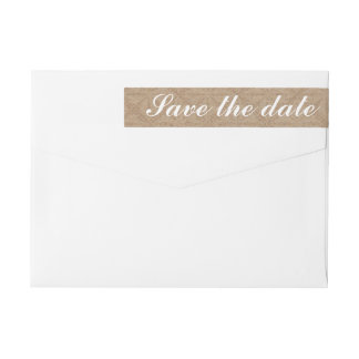 Rustic Lace Brown Save The Date Wedding Wrap Around Label