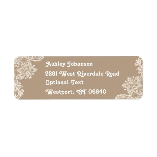 Rustic Lace Brown & White Return Address  Label