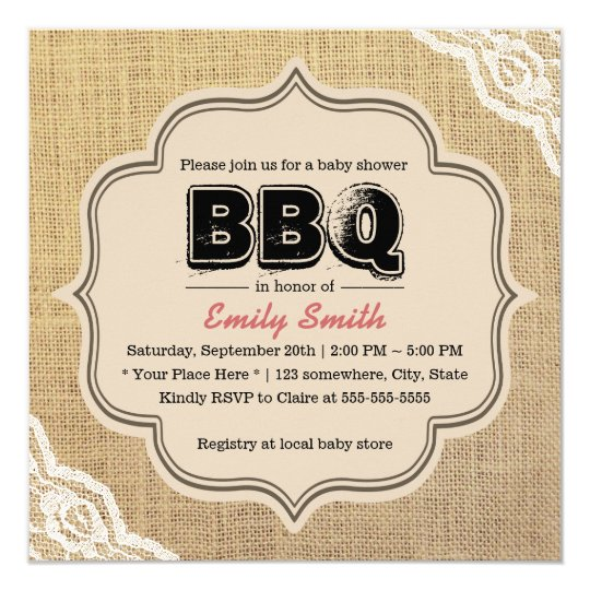 Rustic Lace & Burlap Baby Shower BBQ Party Card