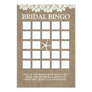 Rustic Lace & Burlap Bridal Shower Bingo Cards