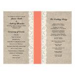 Rustic Lace & Burlap Coral Ribbon Wedding Program Full Colour Flyer