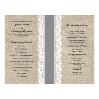 Rustic Lace & Burlap Gray Ribbon Wedding Program Custom Flyer