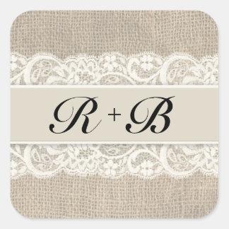 Rustic Lace & Burlap Look Stickers
