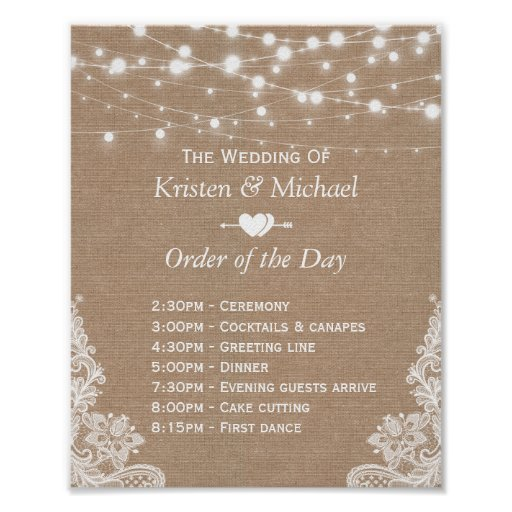 Rustic Lace Burlap Order of The Day Wedding