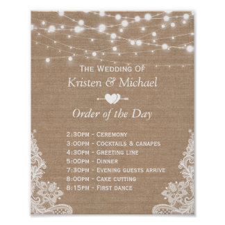 Rustic Lace Burlap Order of The Day Wedding Sign Poster