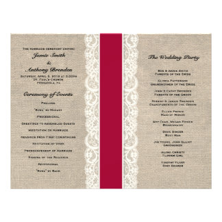 Rustic Lace & Burlap Red Ribbon Wedding Program Full Color Flyer