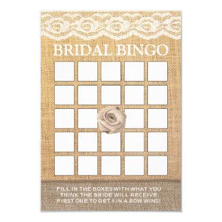 Rustic Lace Burlap Rose Bridal Shower Bingo Cards