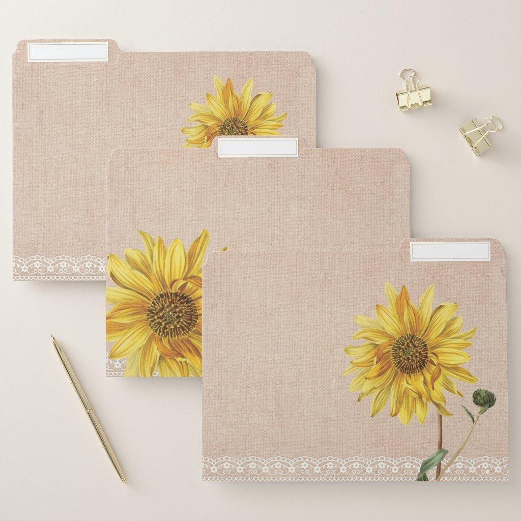 Rustic Lace & Burlap Sunflowers File Folders