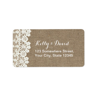 Rustic Lace & Burlap Vintage Wedding Address Label