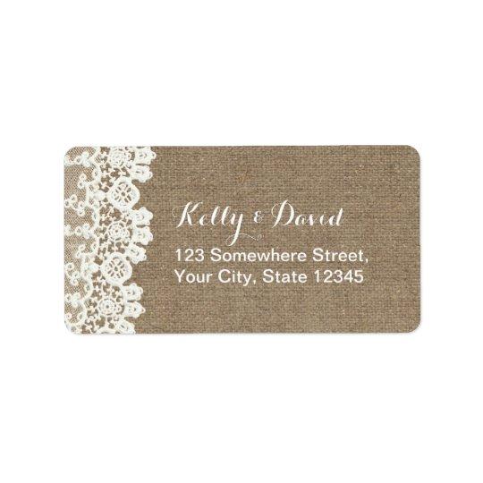 Rustic Lace & Burlap Vintage Wedding Label